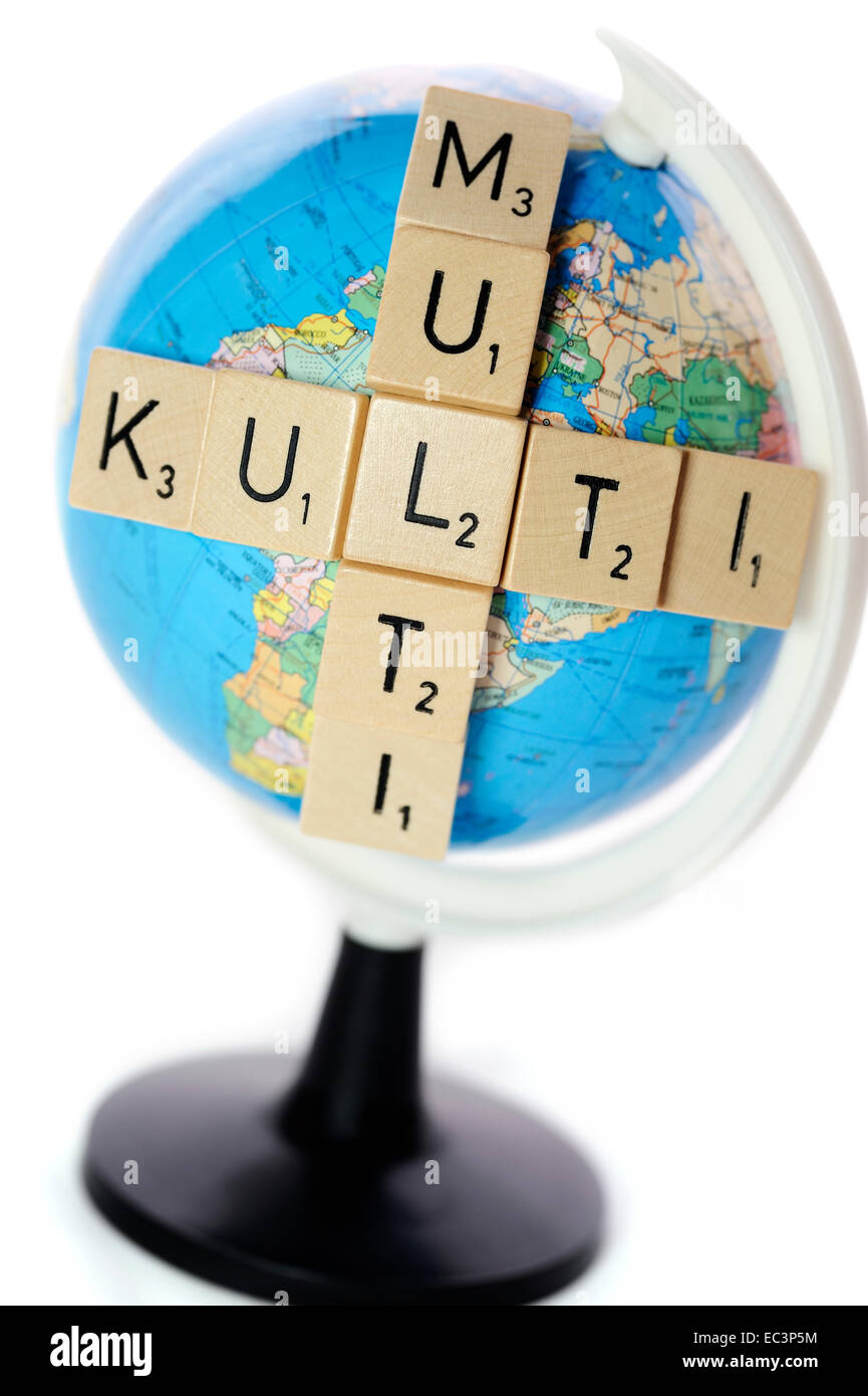 Lettering on globe for multicultural societies - Stock Image