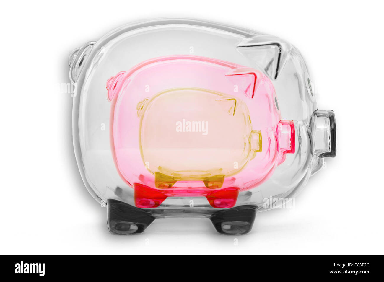 Transparent piggy banks in German national colours - Stock Image