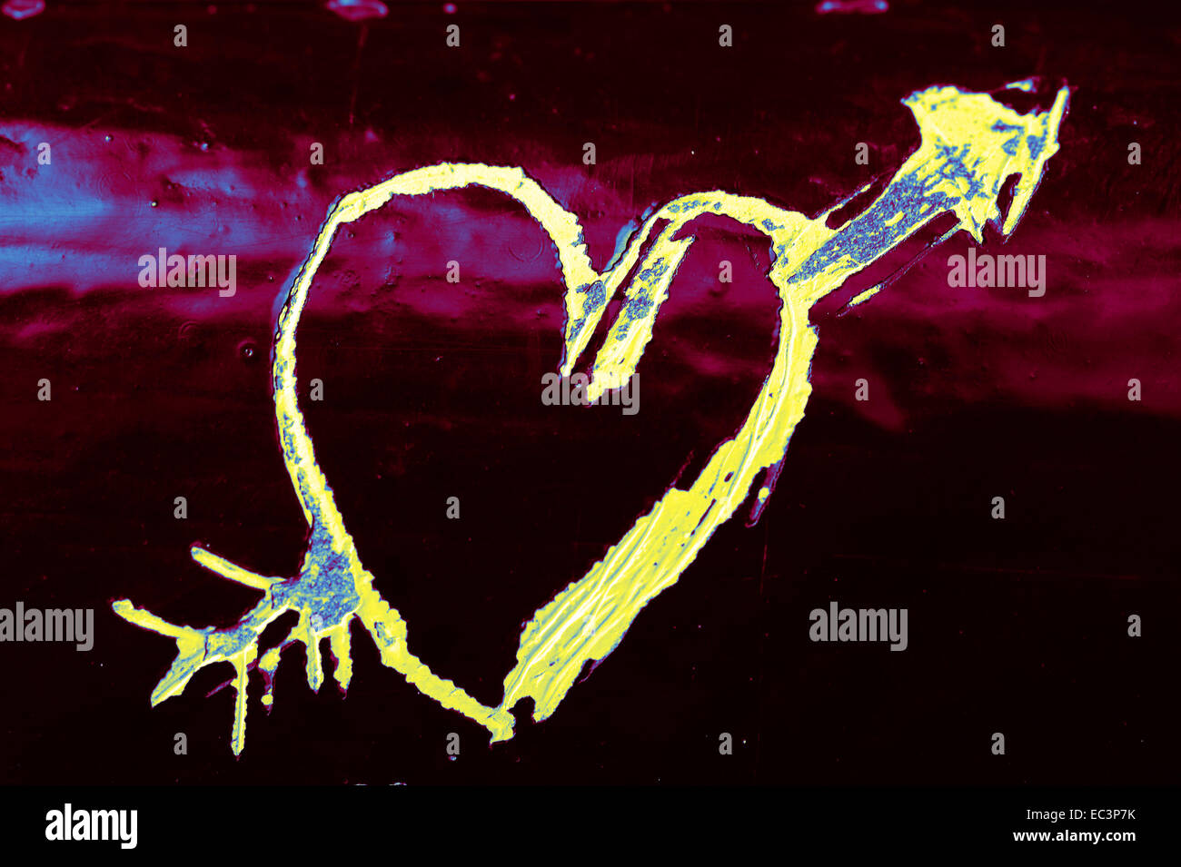 Scratched heart - Stock Image