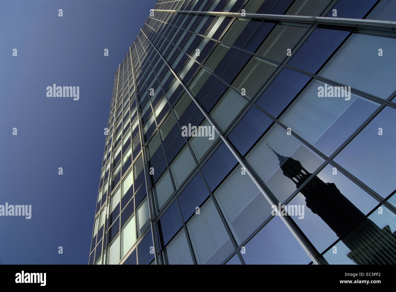 Reflexion of St. Michaelis on Glass Front, Hamburg, Germany - Stock Image