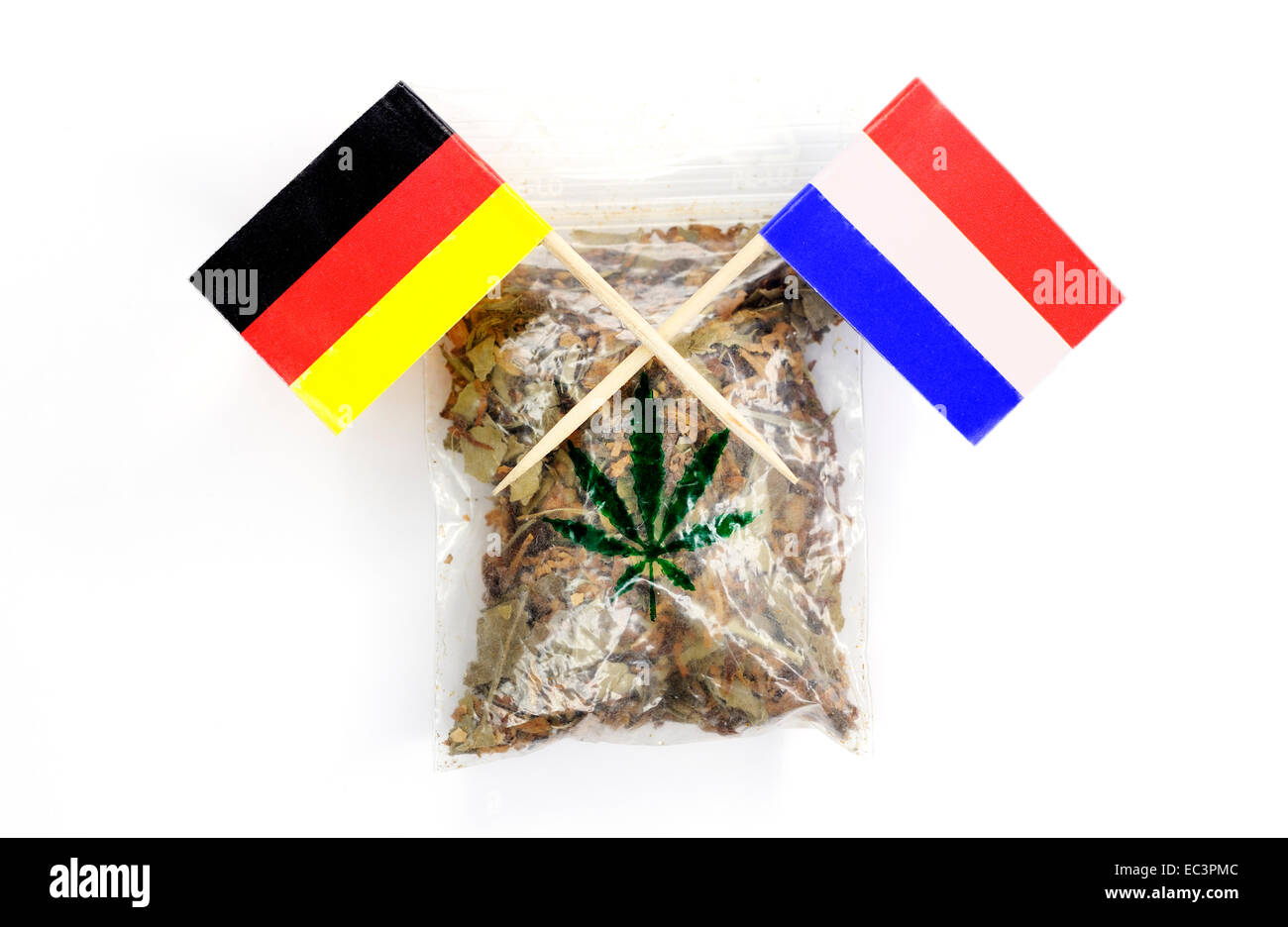 Hemp bag and banner of Germany and The Netherlands - Stock Image