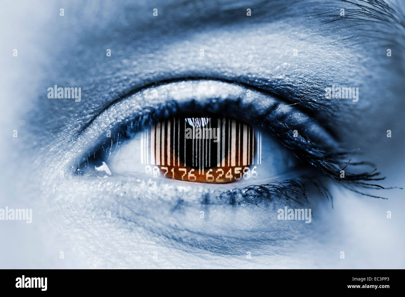 Woman s eye with bar code, census of population - Stock Image