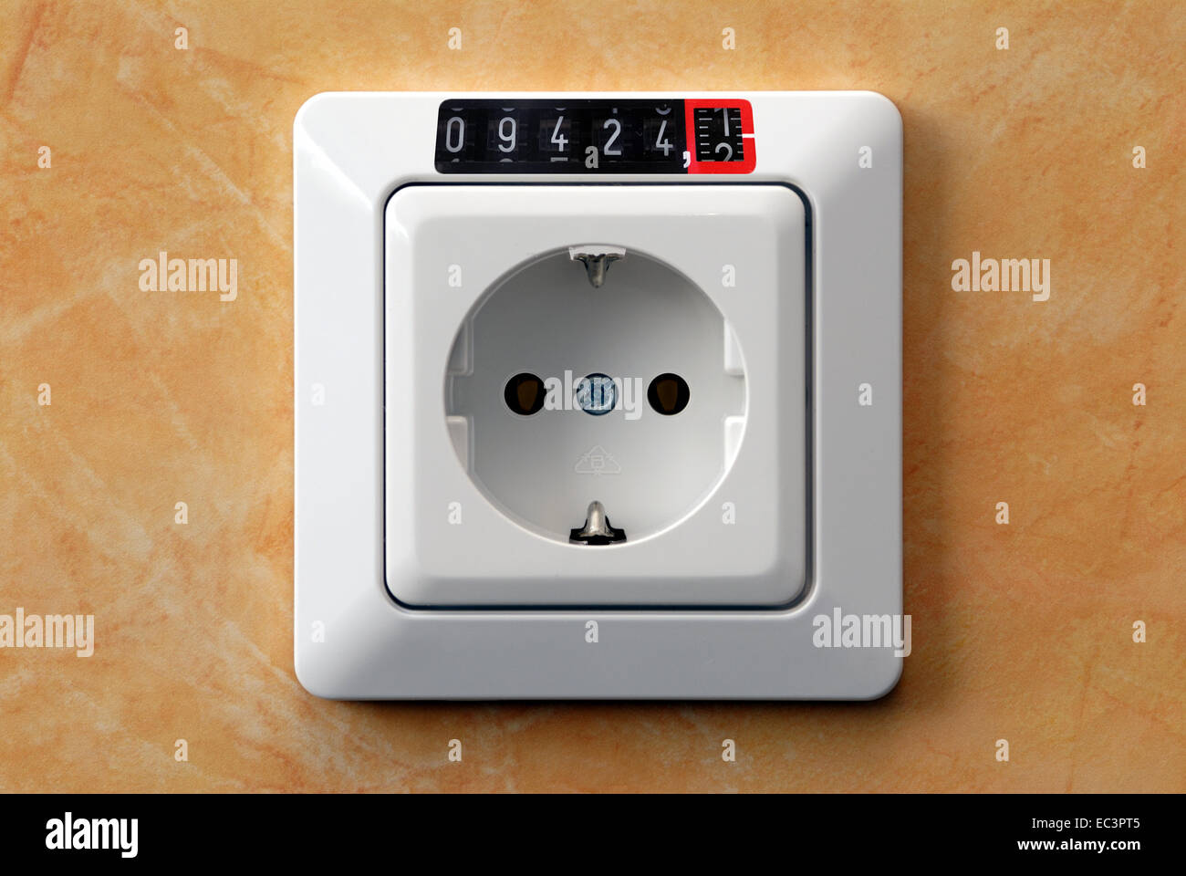 Electrical Outlet with Electricity Meter - Stock Image