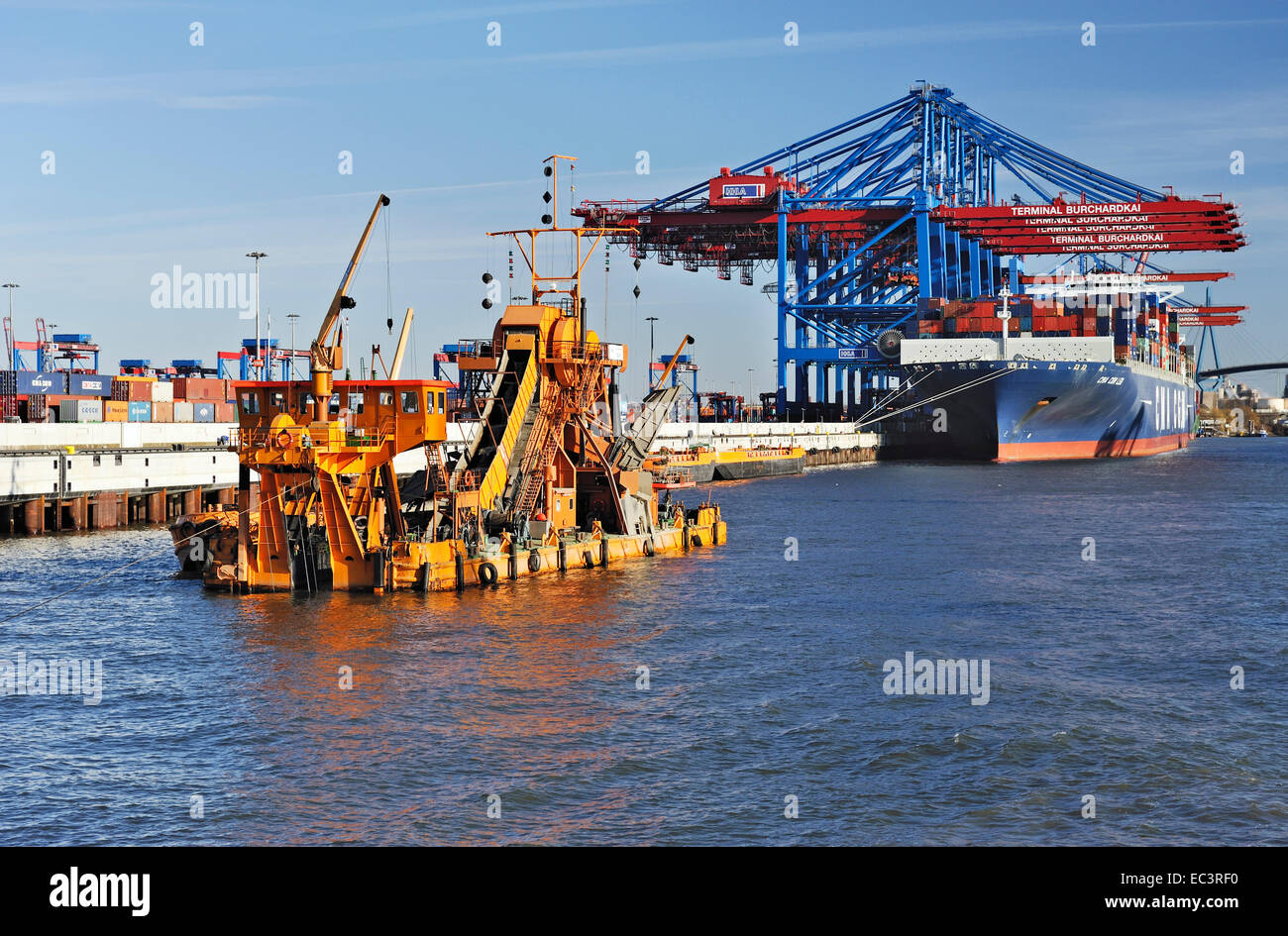 Bucket dredger Odin, deepening of river Elbe in Hamburg Harbour, Germany, Europe Stock Photo