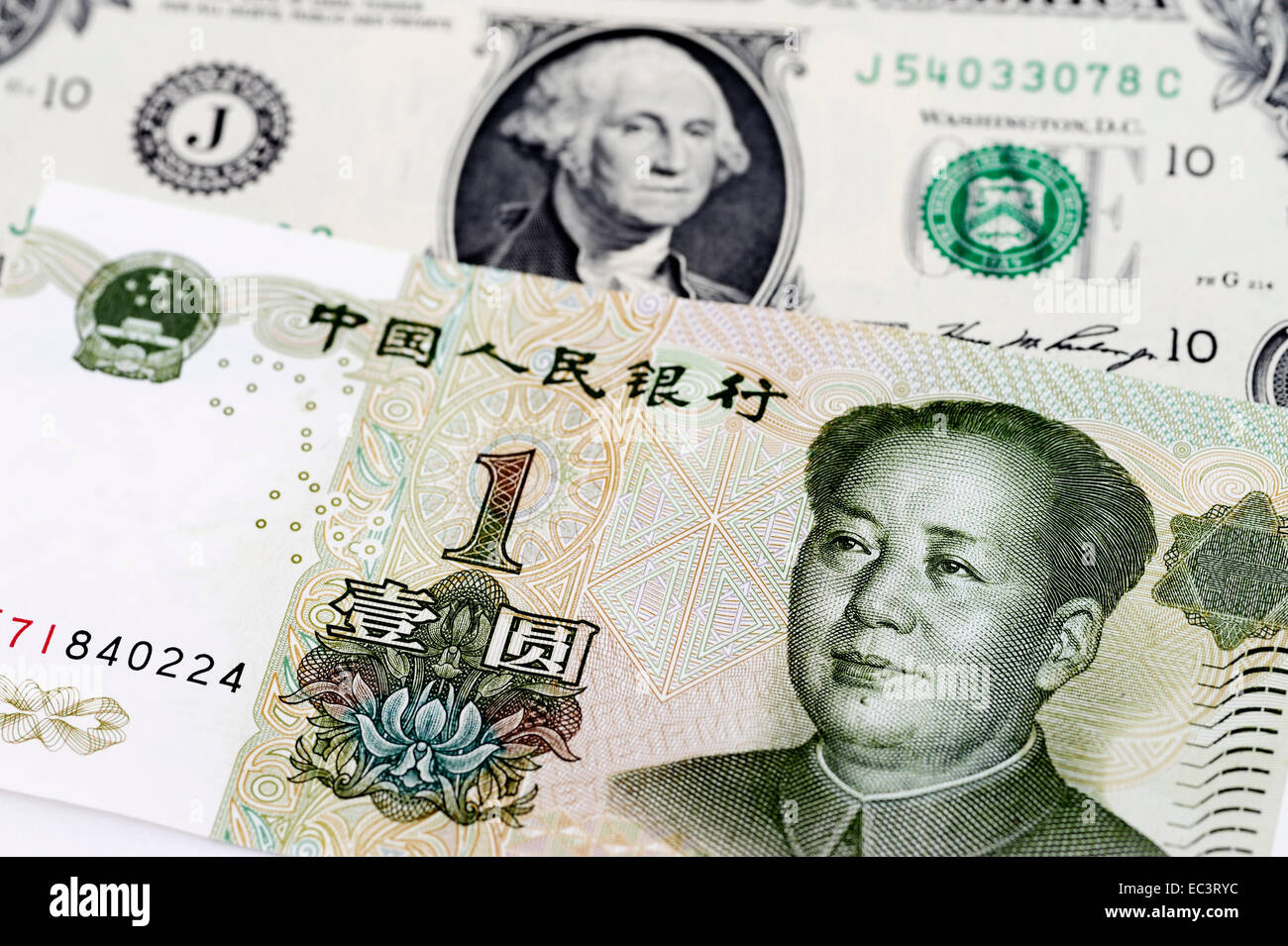 Us One Dollar Bill And Chinese Yuan Stock Photo Alamy