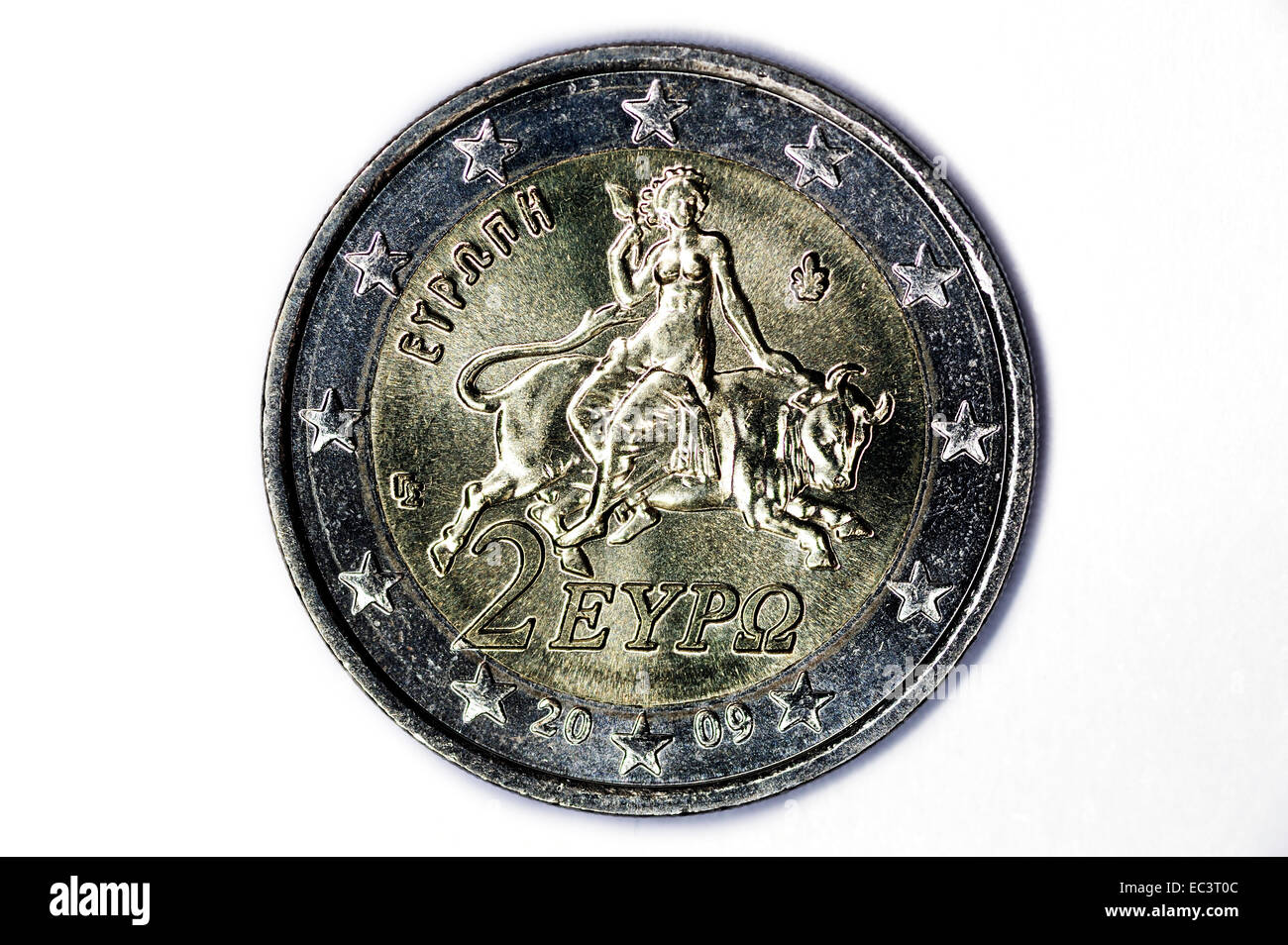 Greek two euro coin, debt crisis - Stock Image