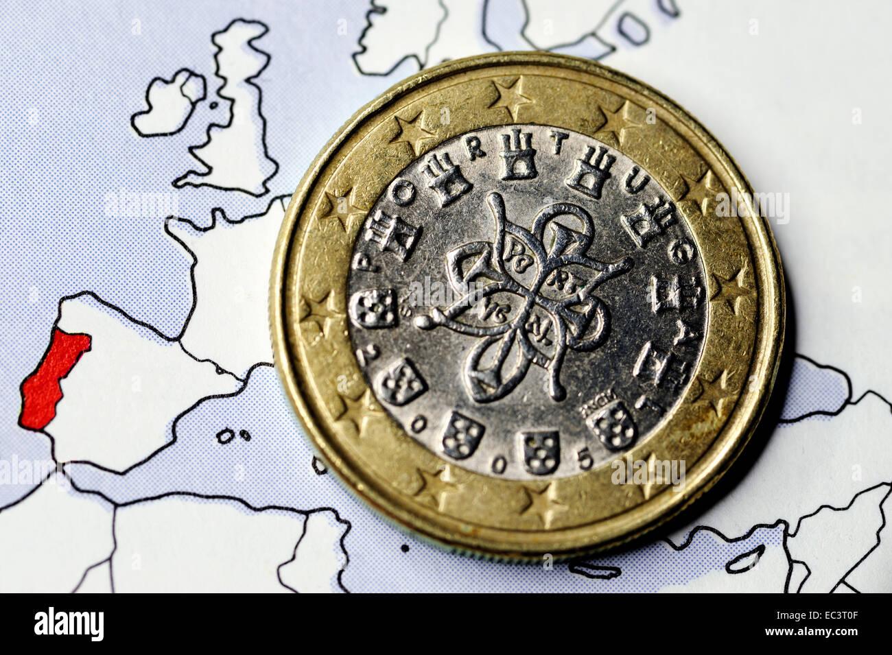 Portugese euro coin, debt crisis - Stock Image