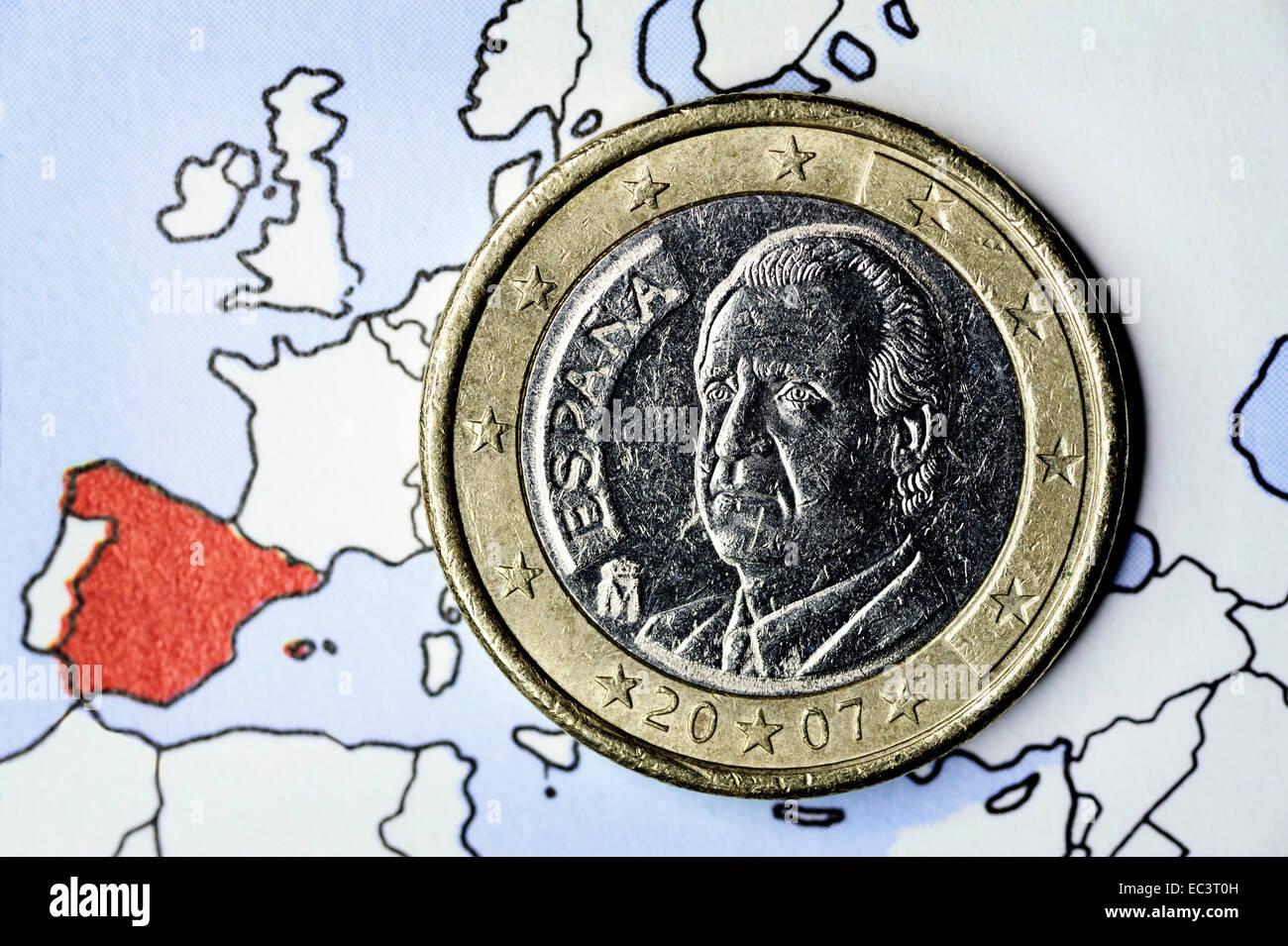 Spanish euro coin, debt crisis - Stock Image