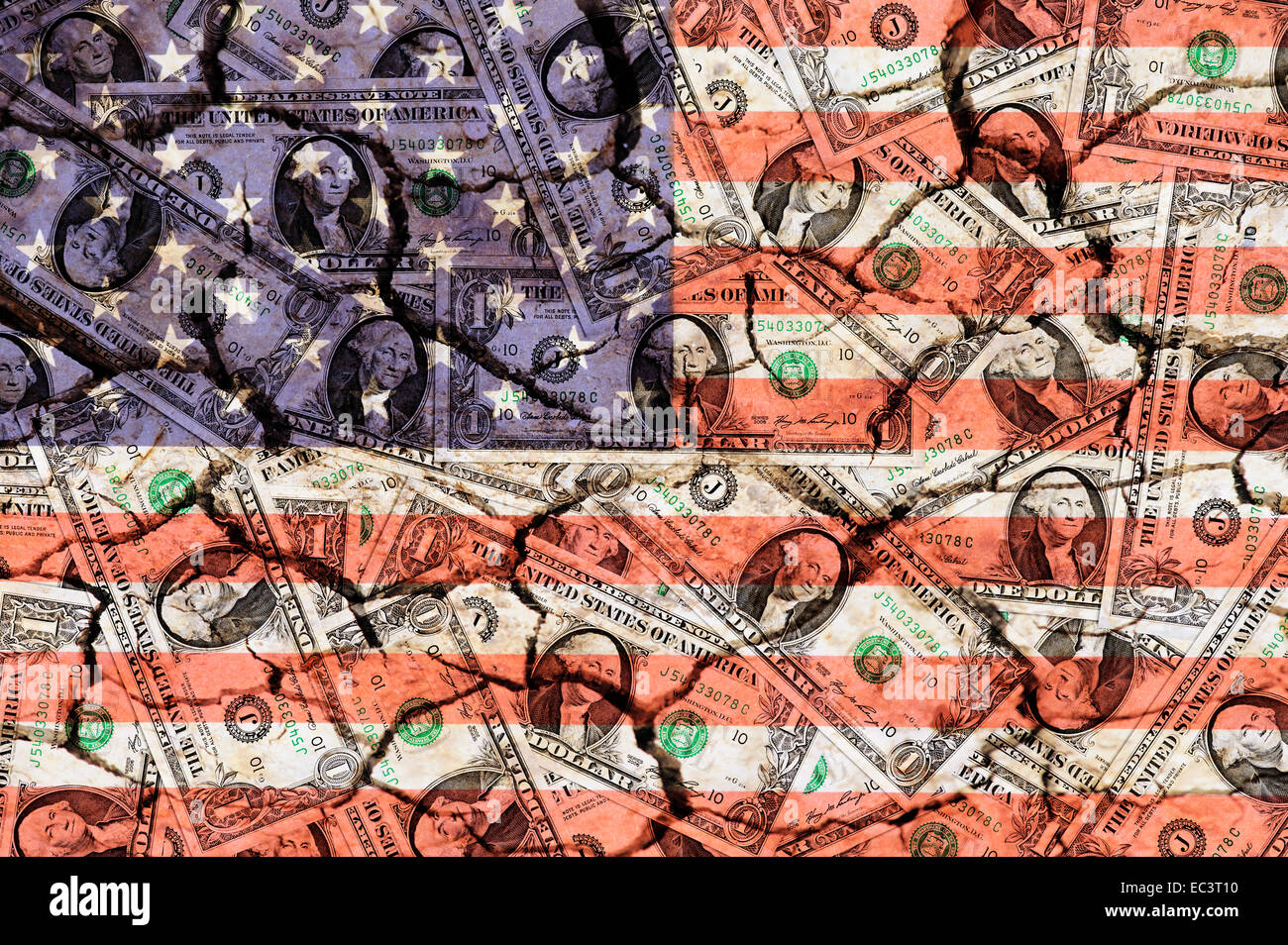 One dollar bills and banner of the USA - Stock Image