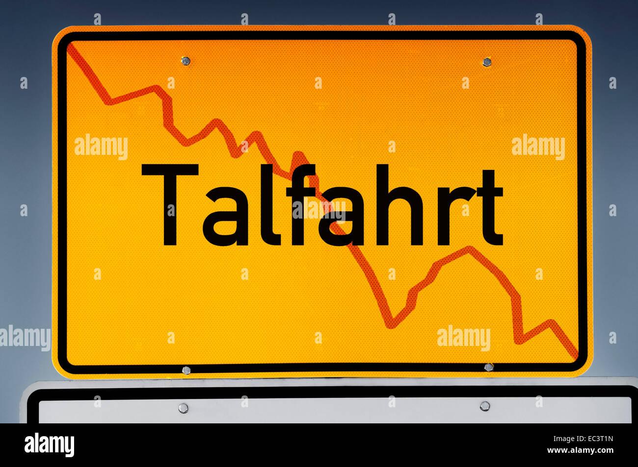 Place name sign, German lettering stock market crash Stock Photo