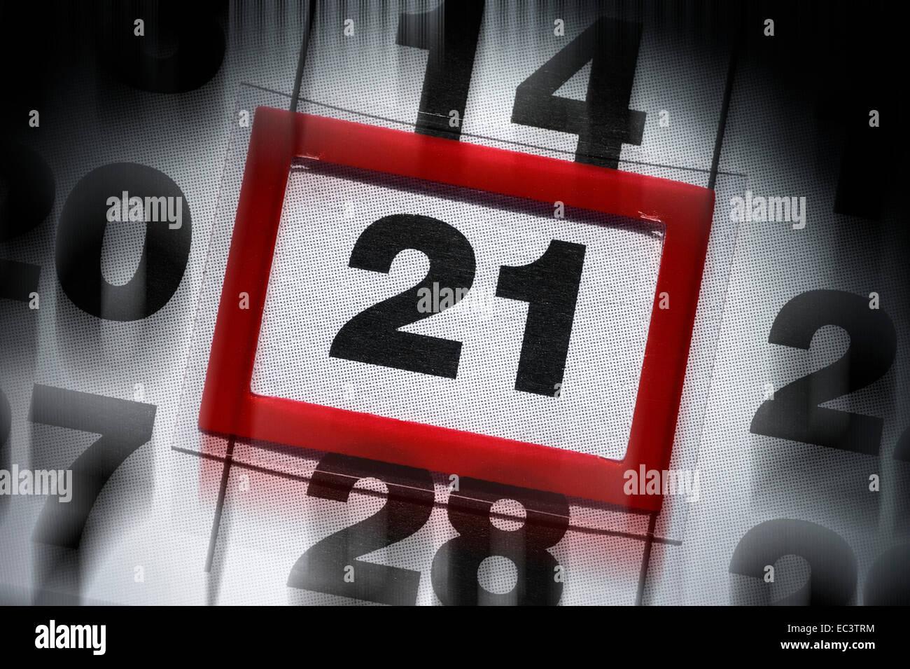 Calendar sheet showing date December 21st, 2012, end of the world - Stock Image