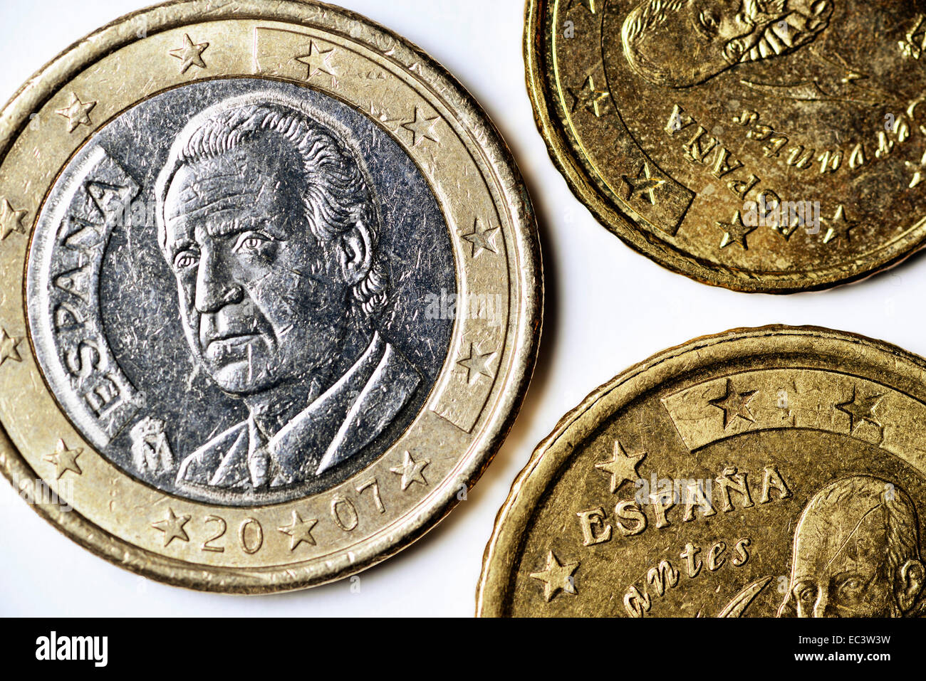 Spanish euro coins, debt crisis in Spain - Stock Image