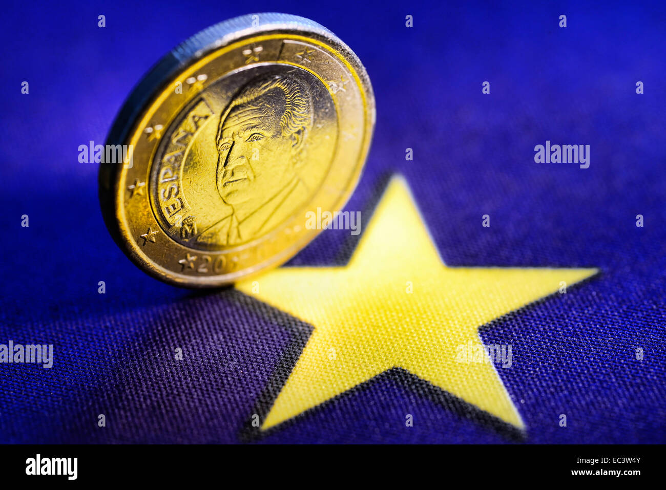 One euro coin of Spain, Spanish debt crisis - Stock Image