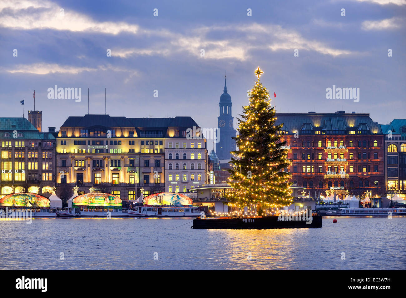 christmas tree on lake alster in hamburg germany stock. Black Bedroom Furniture Sets. Home Design Ideas