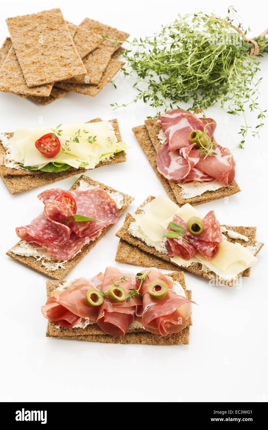 finnish crispbread with salami milano - Stock Image