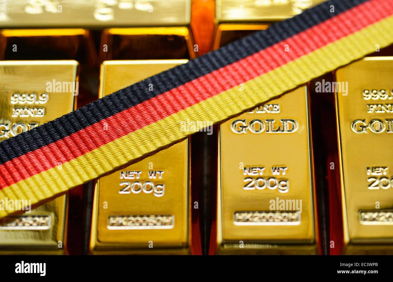 Gold bullion, German gold reserve - Stock Image