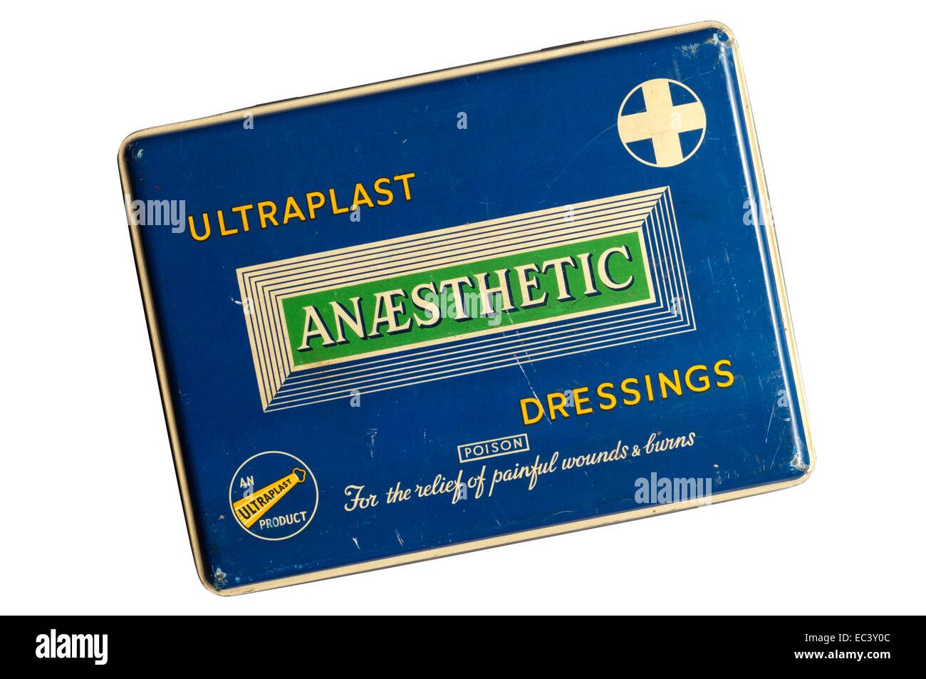 An old tin of Ultraplast Anaesthetic Dressings for the relief of painful wounds and burns. - Stock Image