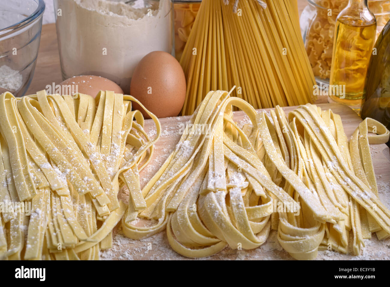 pappardelle homemade pasta typical italian close up - Stock Image