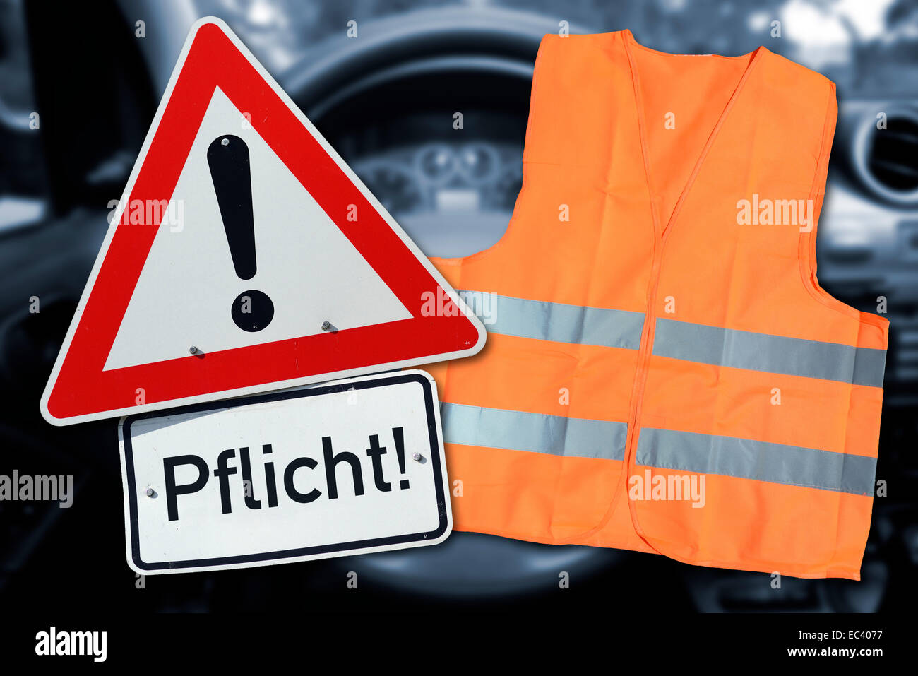 Safety vest and information sign Stock Photo