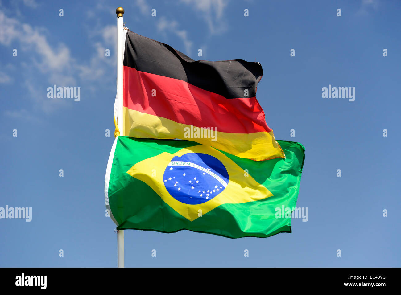 Flags of Germany and Brazil, World Cup 2014 - Stock Image