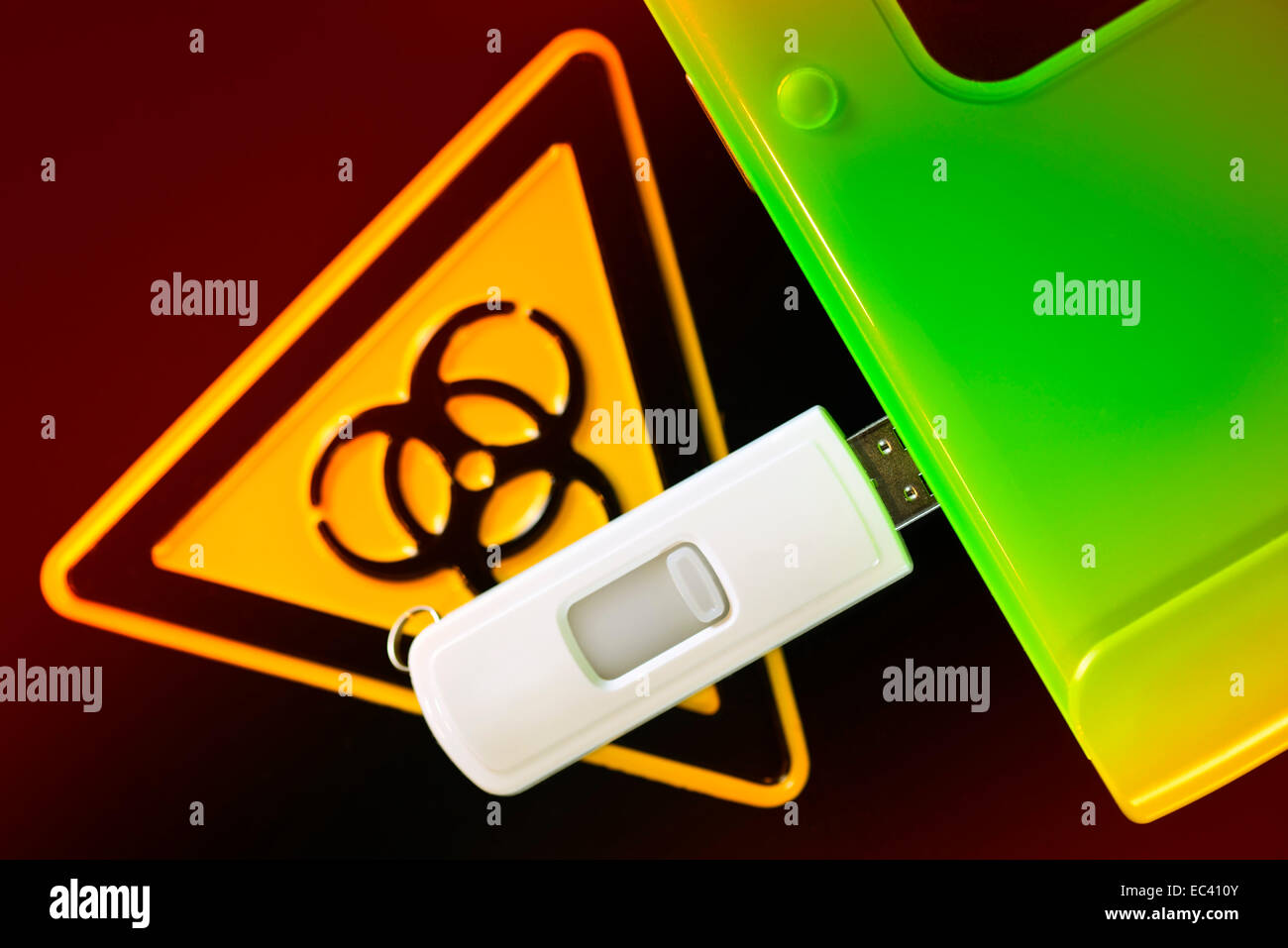 USB flash drive and biohazard sign, computer virus - Stock Image