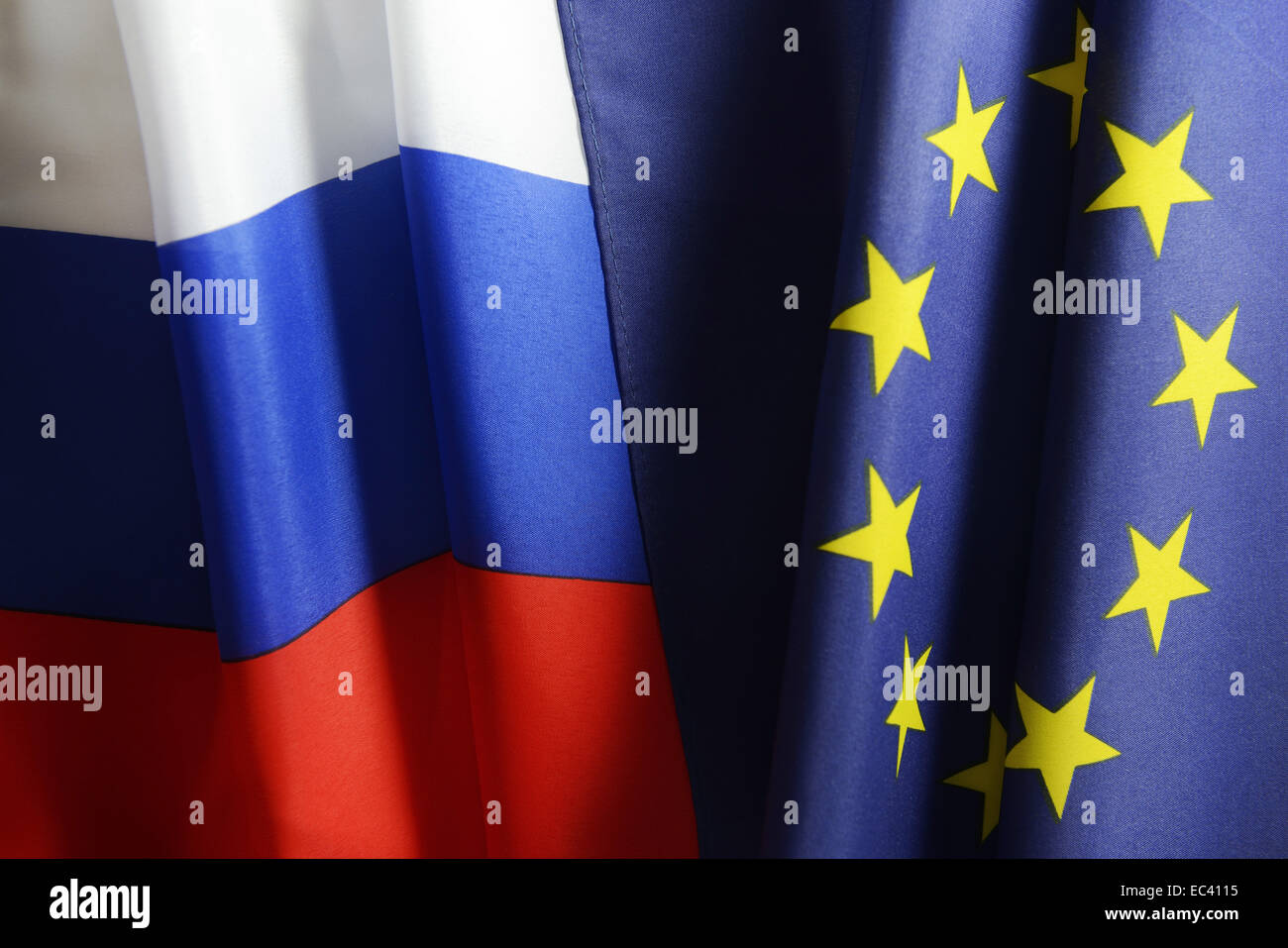 Flags of Russia and the European Union - Stock Image