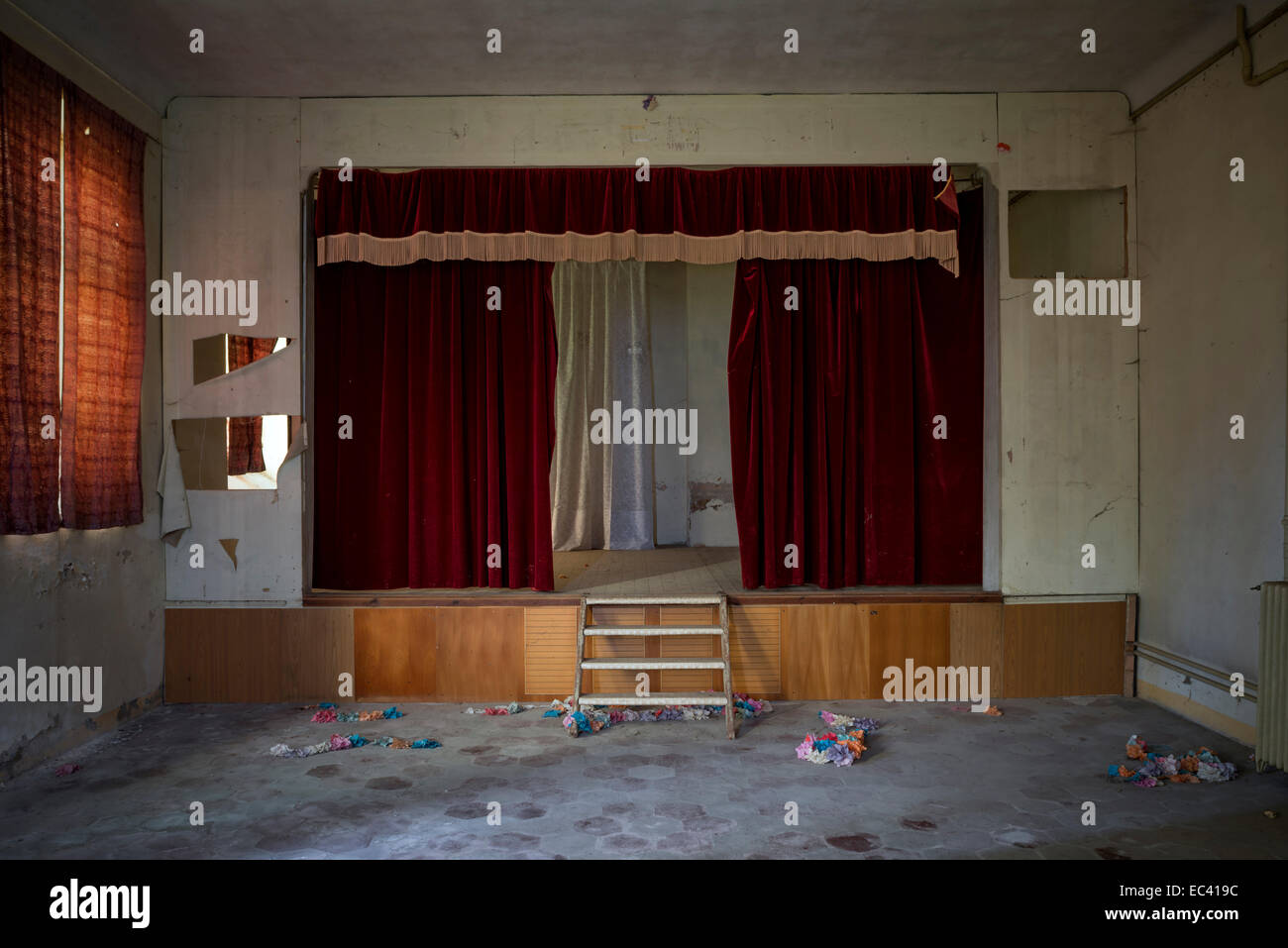 Stage of abandoned theater - Stock Image