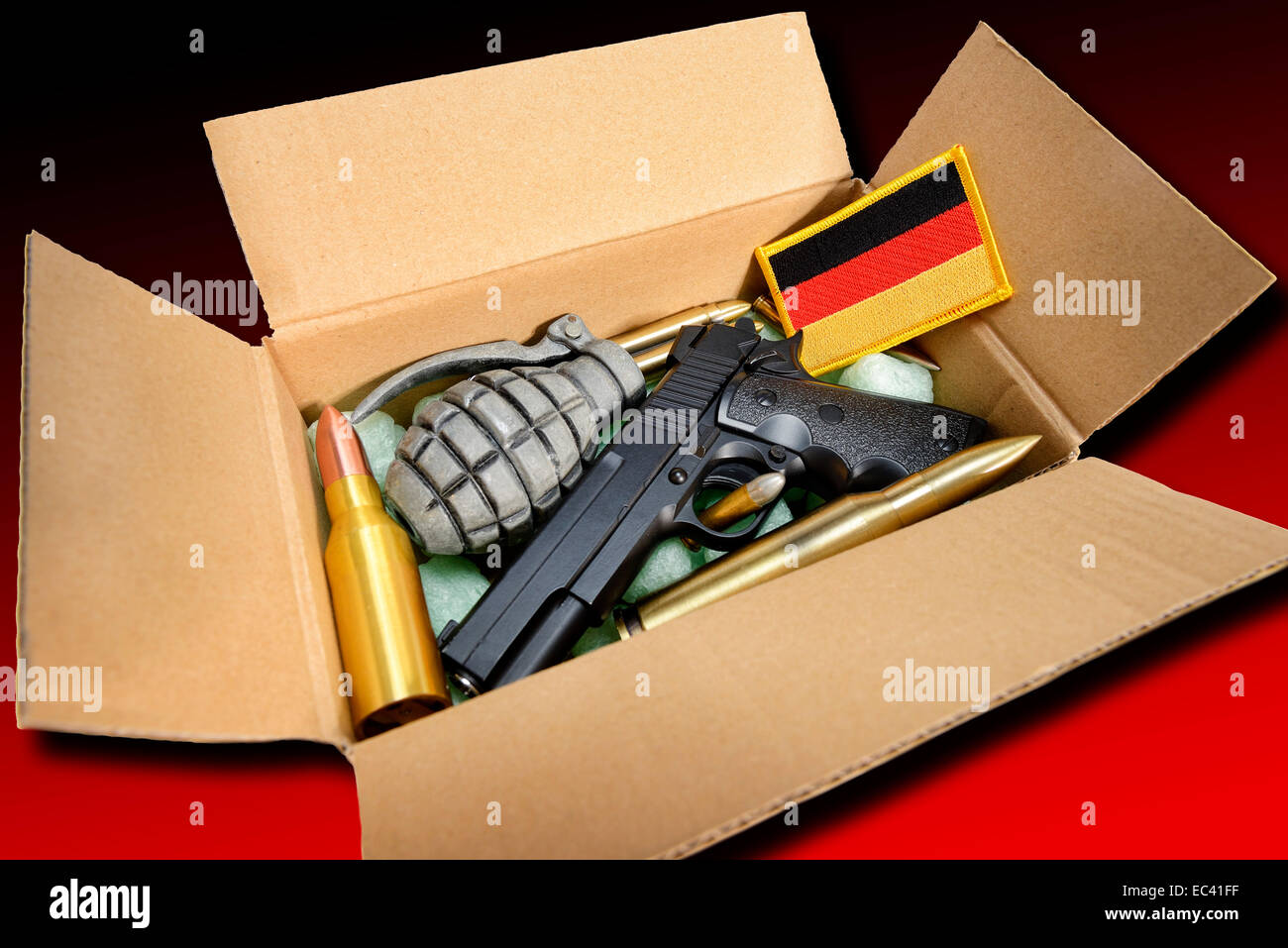 Weapons in a parcel, German delivery of arms - Stock Image