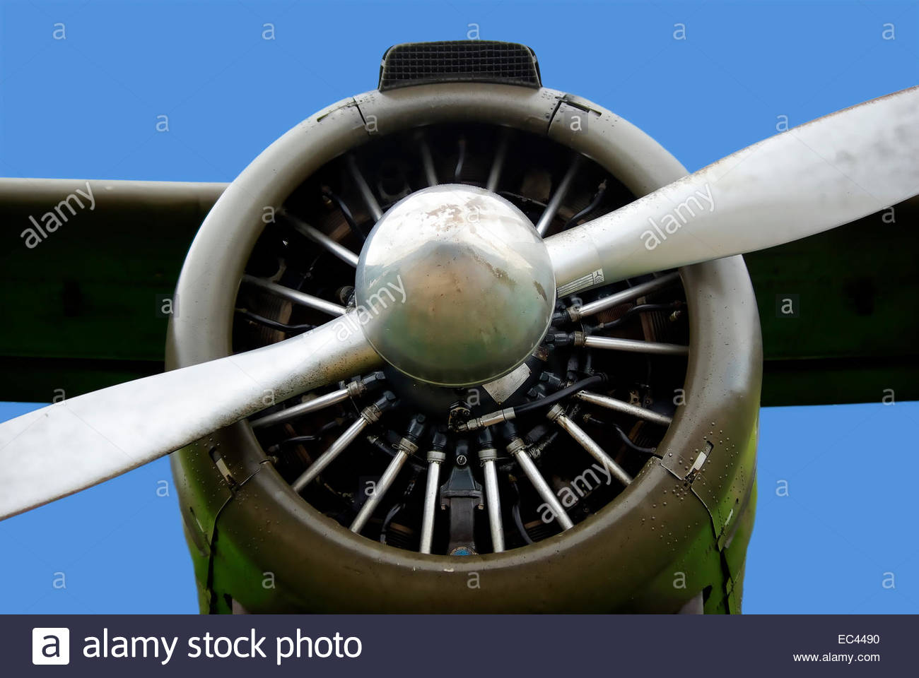 Propeller, airscrew and radial engine of an airplane - Stock Image