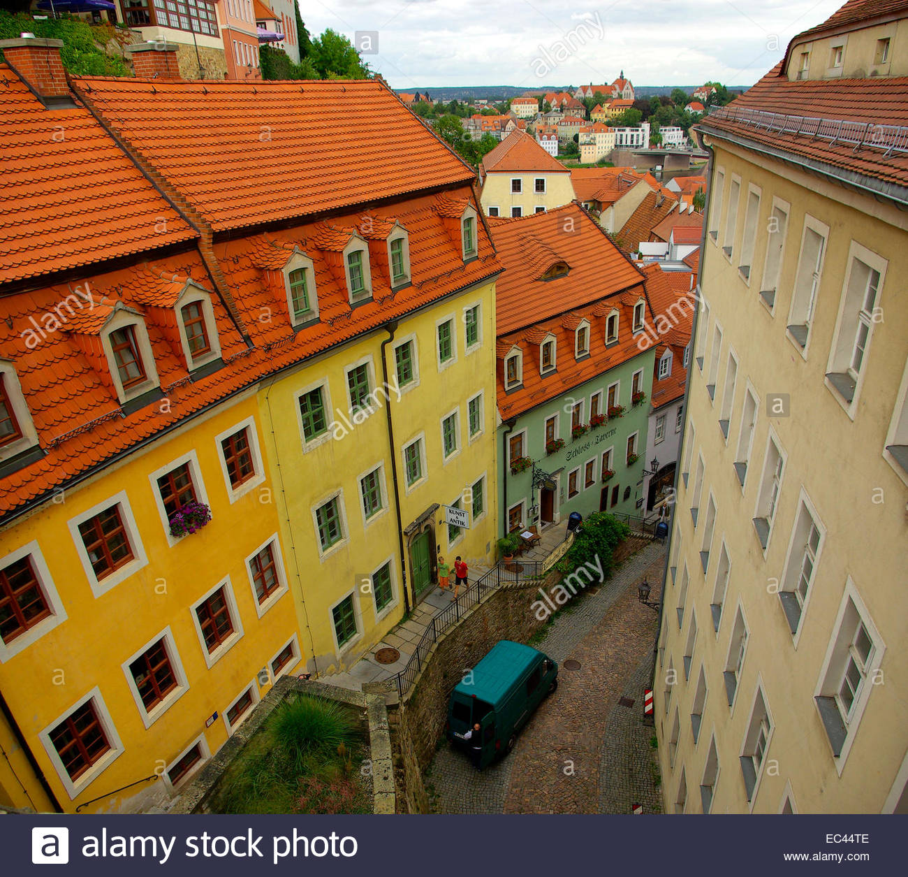Old town of Meissen, Saxony, Germany, Europe, as seen as from the hill of the Albrechtsburg Palace. Stock Photo