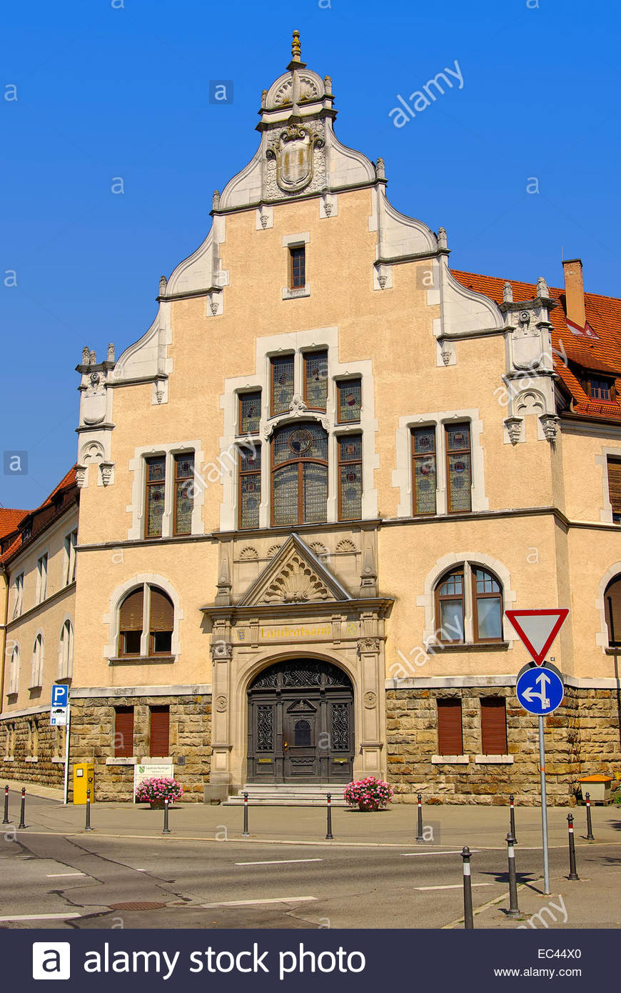 Historic neo-renaissance style architecture, todays the District Office of the city of Reutlingen, Germany, Europe. - Stock Image