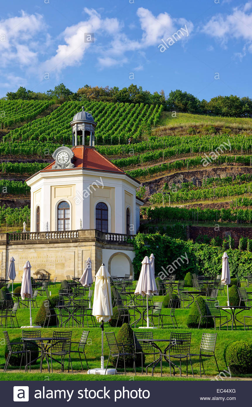 Belvedere of Schloss Wackerbarth Palace, the domicile of the Saxon state winery in Radebeul near Dresden, Germany. - Stock Image