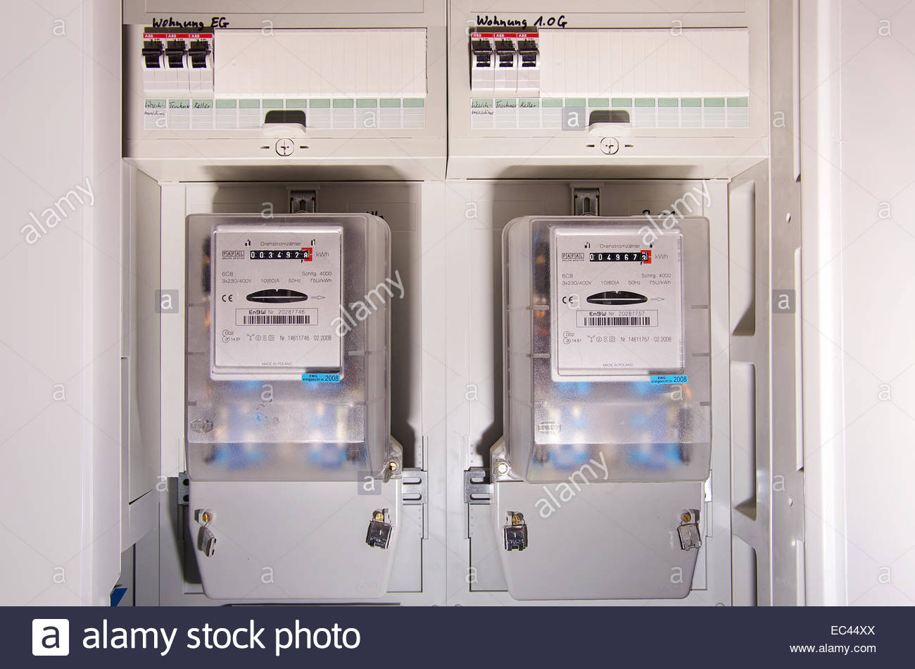 Two electric meters - Stock Image