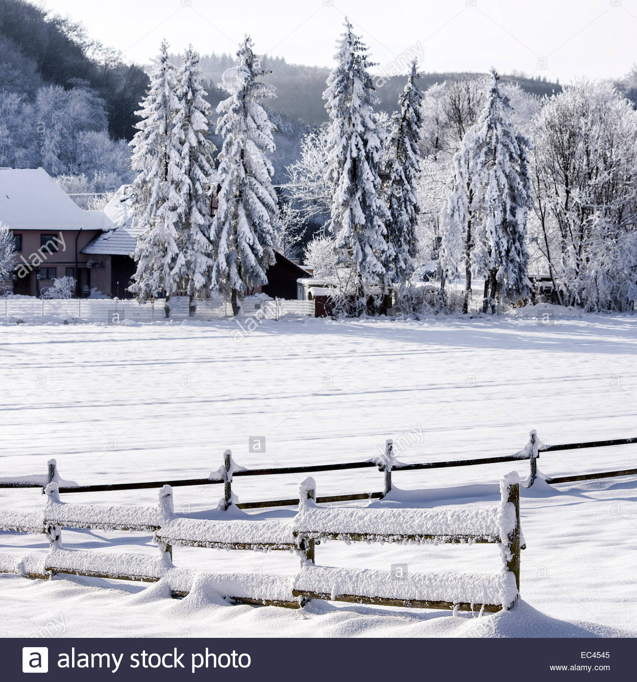 Snowed-in fence in wintery environment. - Stock Image