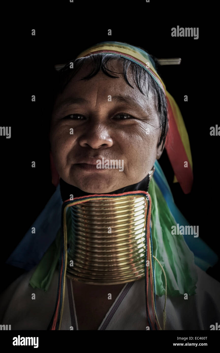 Karen 'long neck' hilltribe, Peduang Tribe. - Stock Image