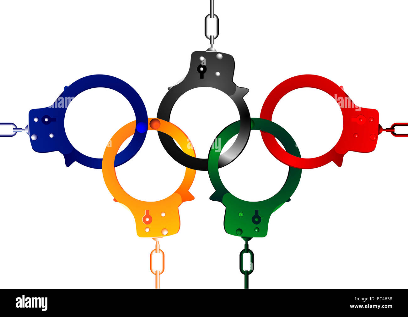 Handcuffs forming Olympic Rings - Stock Image