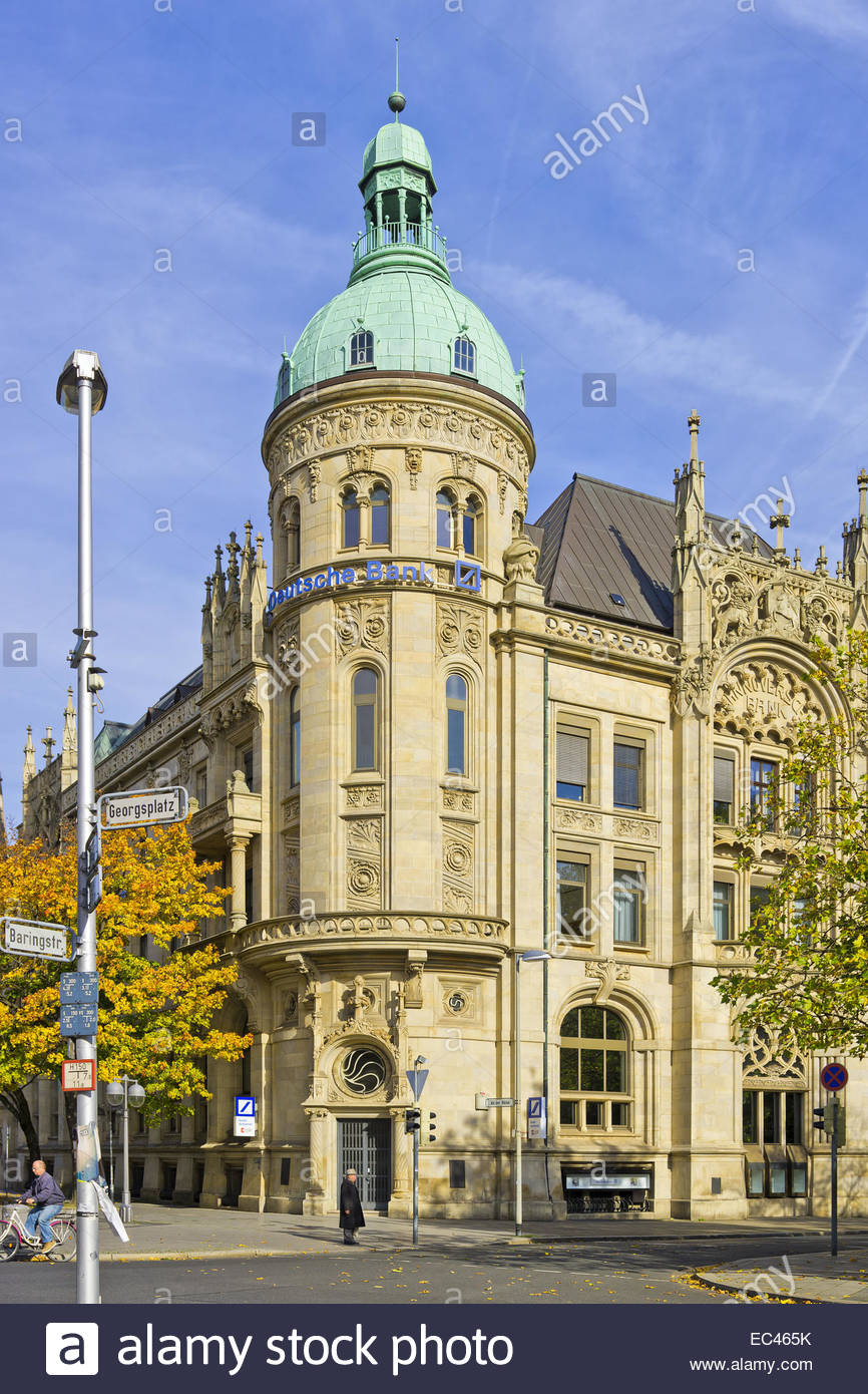 Building of the Hannoversche Bank, nowadays domicile of the Deutsche Bank, at the Georgsplatz Square, Hannover, - Stock Image