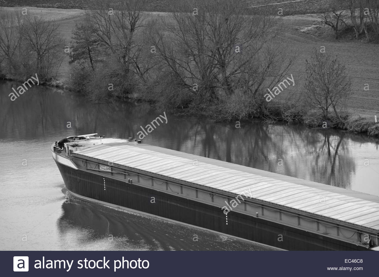 Inland waterway craft, Neckar river, Germany - Stock Image