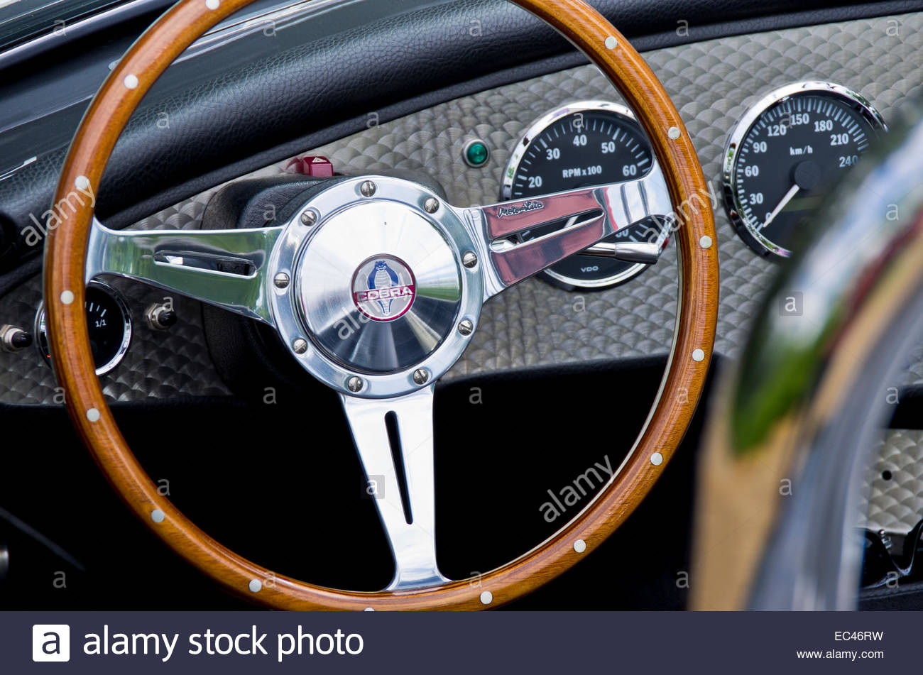 Steering wheel and dashboard of a Shelby Cobra 427 classic car for ...