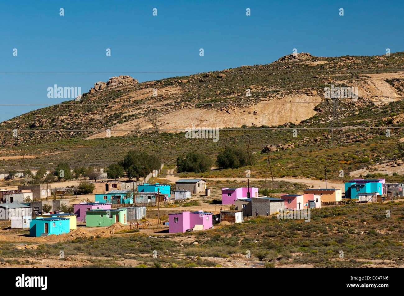 Residential neighbourhood of black South Africans at the periphery of Springbok, Northern Cape province - Stock Image