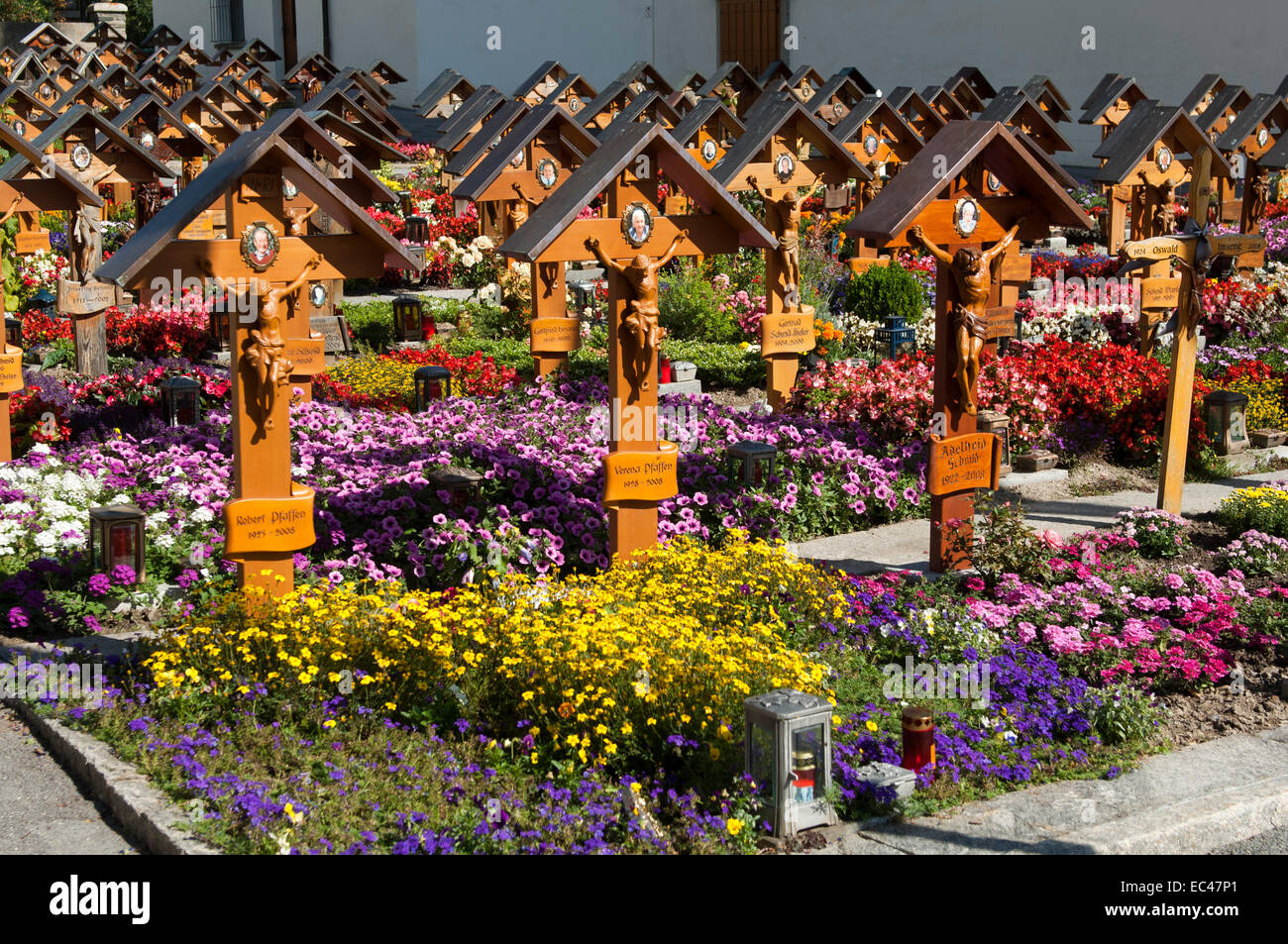 Cemetry with standardised crosses on the graves, Ausserberg, Valais, Switzerland - Stock Image