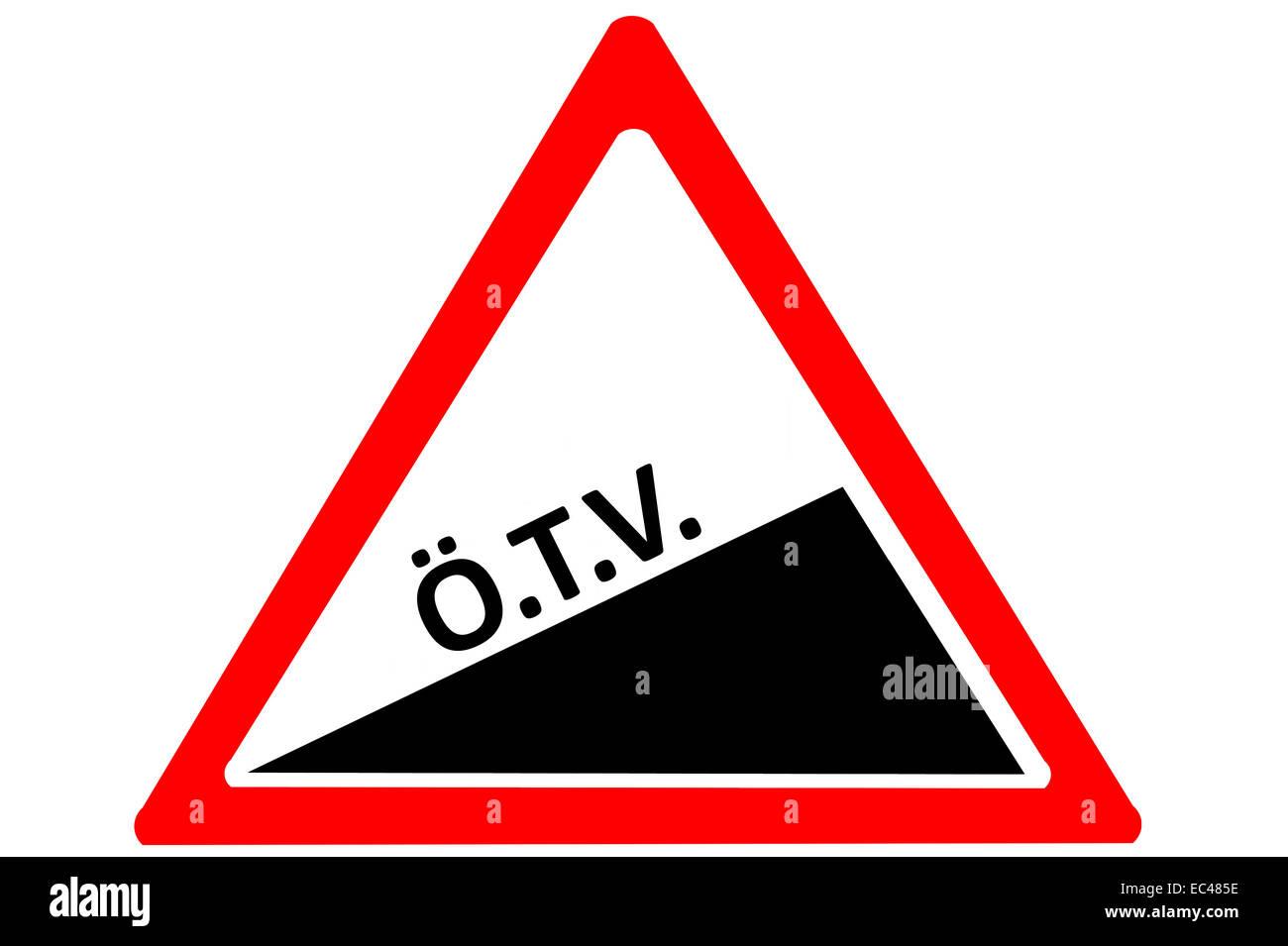 Rising tax Turkish ozel tuketim vergisi roadsign isolated on pure white background - Stock Image