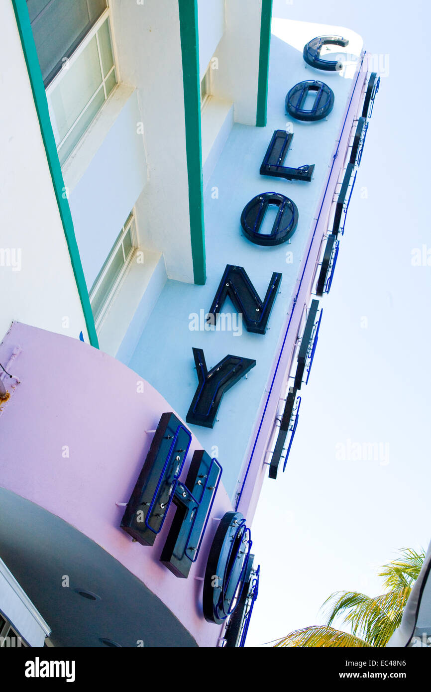 Colony Hotel, South Beach, Miami, Florida, USA - Stock Image
