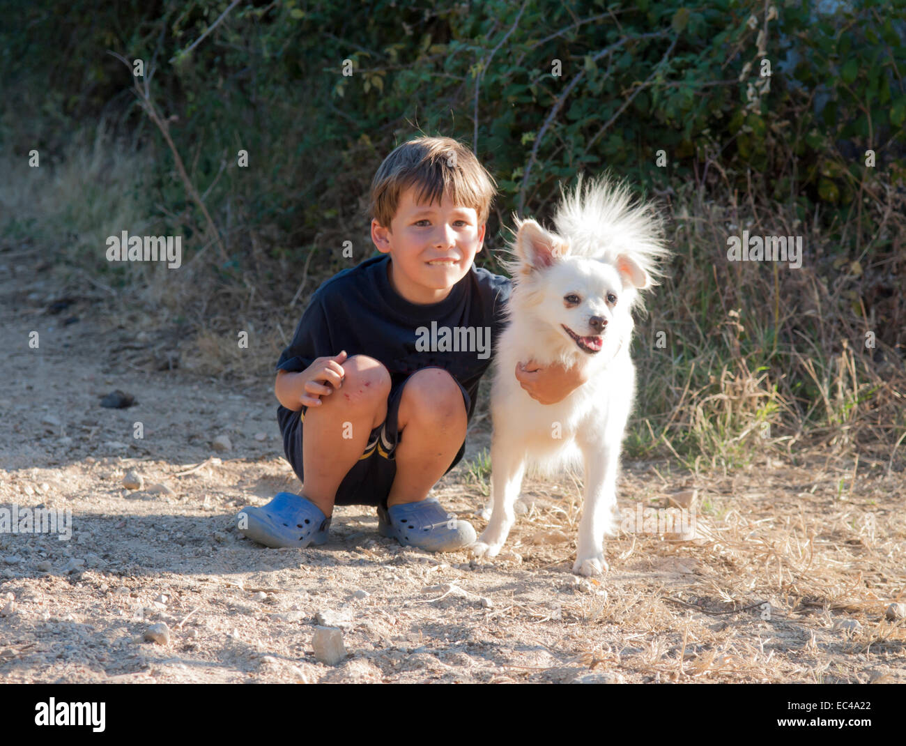boy child with his dog - Stock Image
