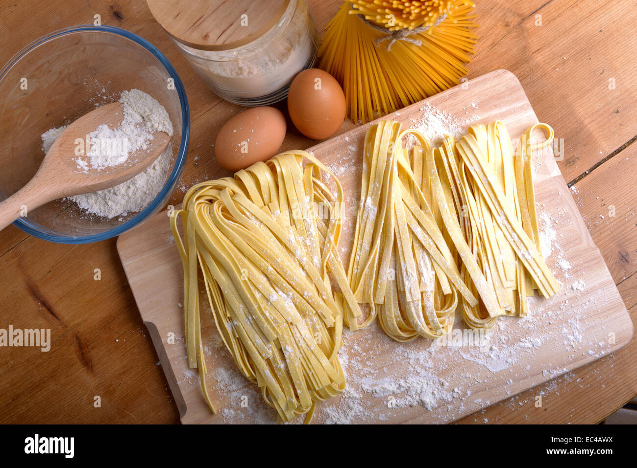 pappardelle homemade pasta typical italian - Stock Image