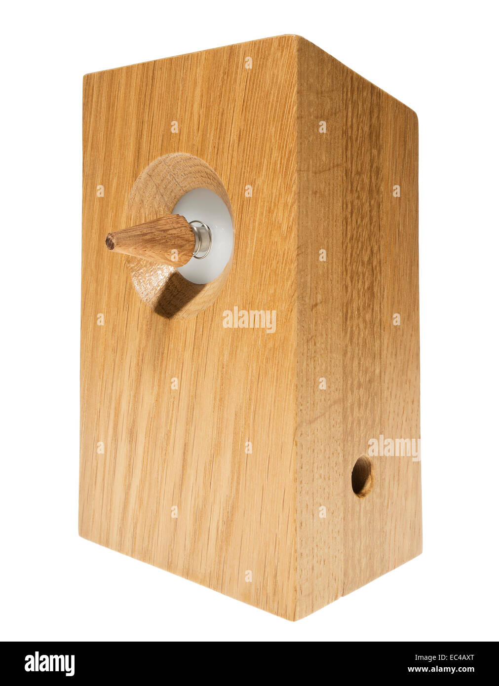 Wooden Woodpecker Alarm Clock by Alarming Industries. - Stock Image