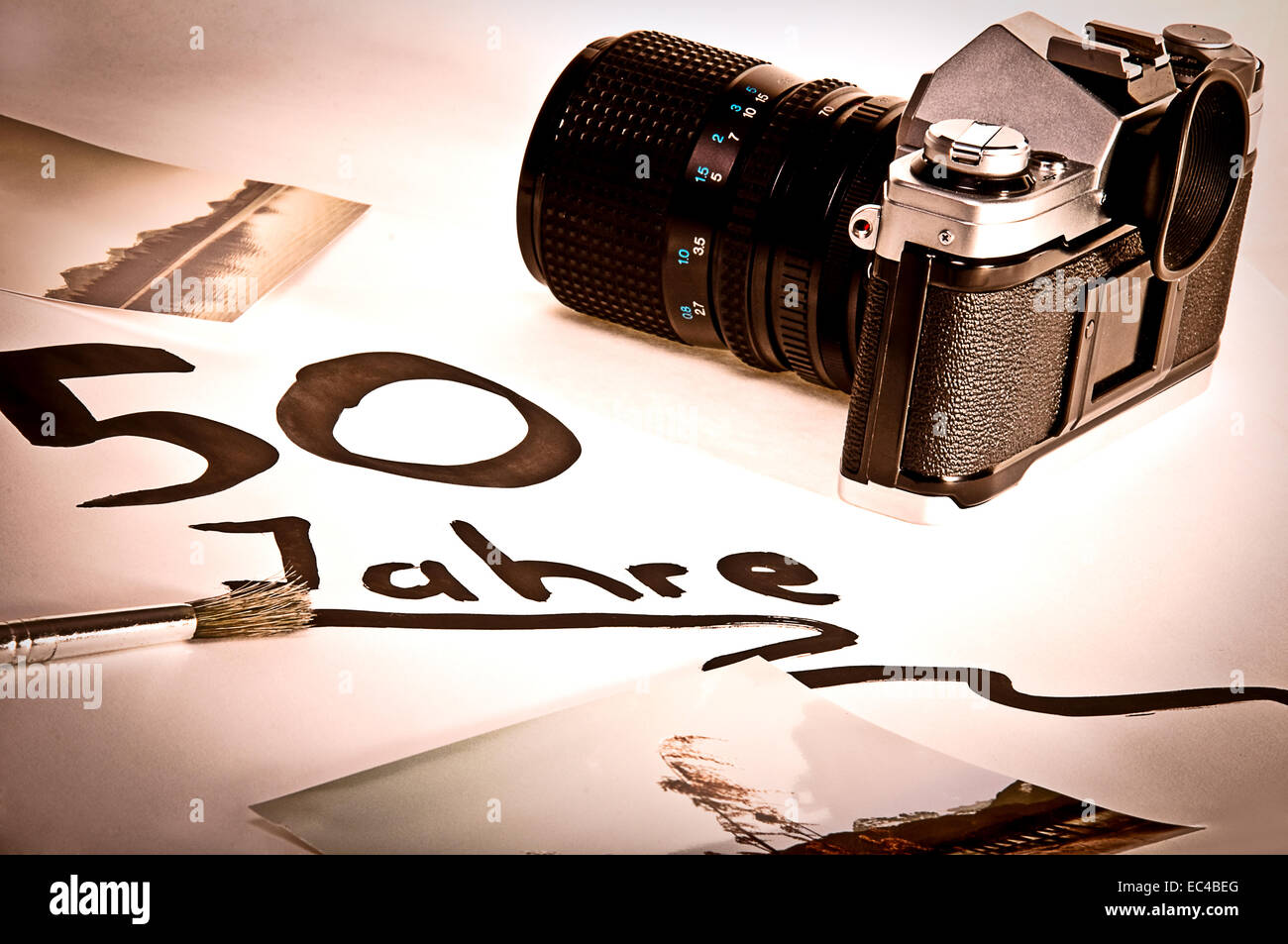 the analog camera in the still lifes - Stock Image