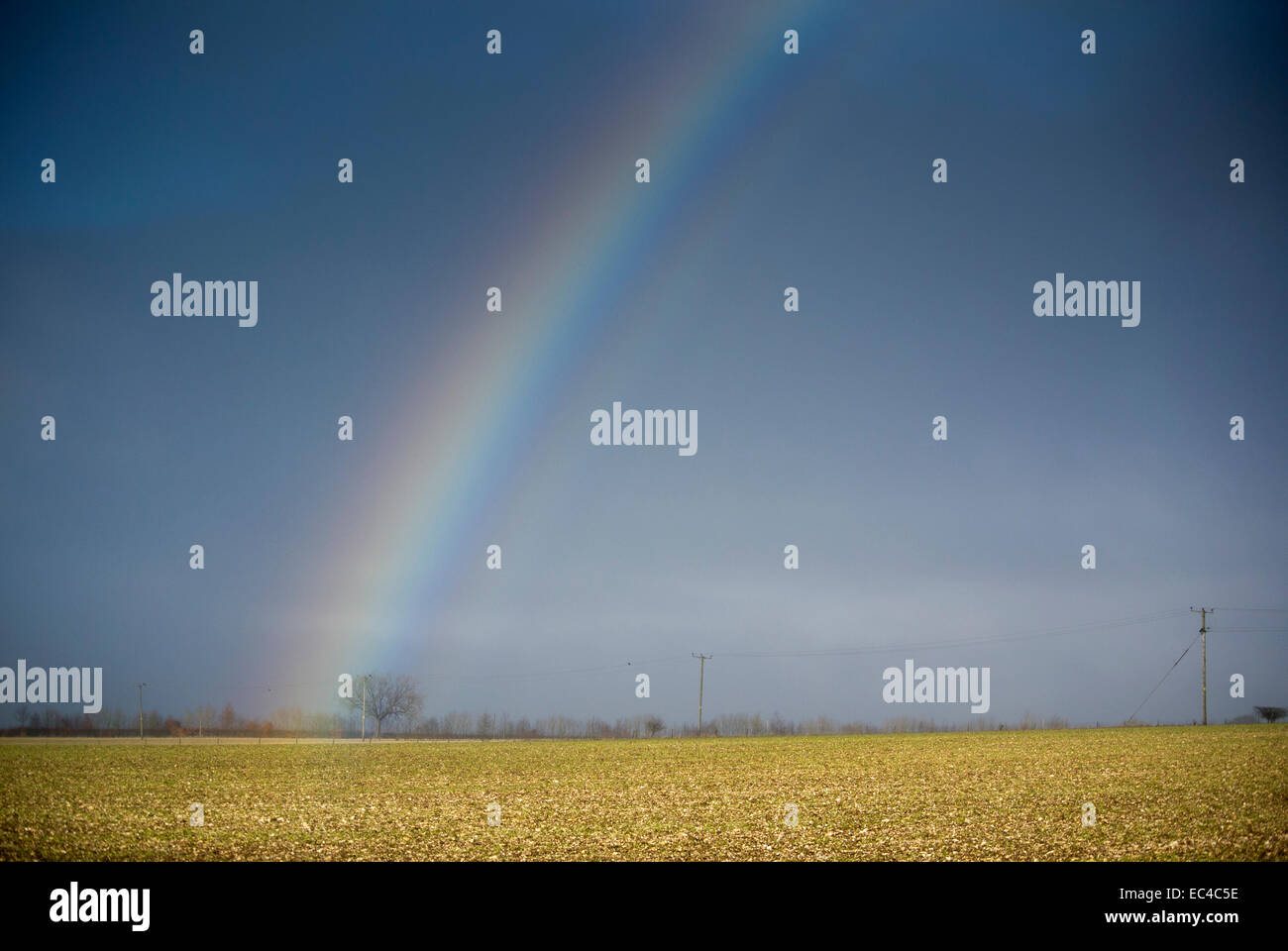 Rainbow on the Yorkshire Wolds. - Stock Image
