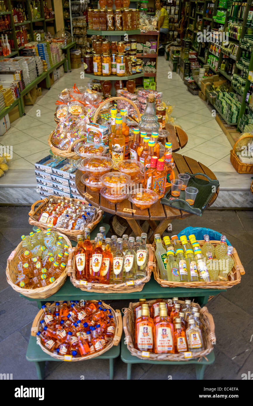 Kumquat liqueurs and sweets Korfu Old Town - Stock Image