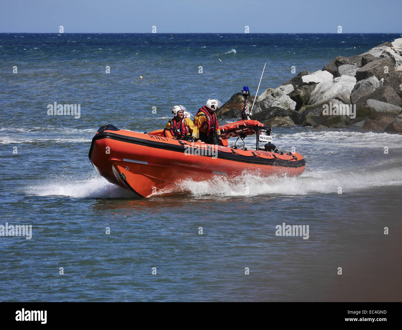 RNLI inshore lifeboat at Staithes, Lifeboat Day - Stock Image